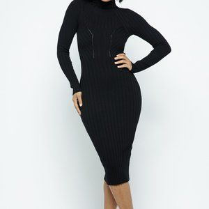 Women's Dobby Mock Neck Long Sleeve Midi Dress